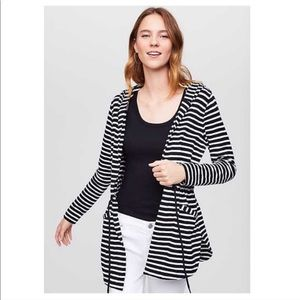 LOFT Striped Hooded Drawstring Open Front Cardigan